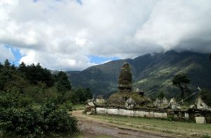 Ancient Chhorten near Takasindu pass during hiking from Jiri to Everest base camp Nepal
