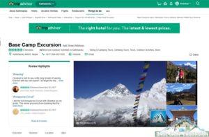 TripAdvisor Mount everest base camp trek company reviews