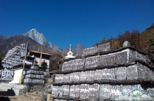 Stupa, Chhorten, monastery are the Buddhist monuments on the Everest base camp trek route in Sherpa village of Khumbu Nepal