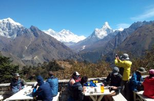 Breakfast, Lunch and dinner during Everest base camp trek Himalayas