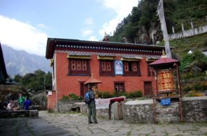 Buddhist Monastery Ghat Village in Everest base camp trek route