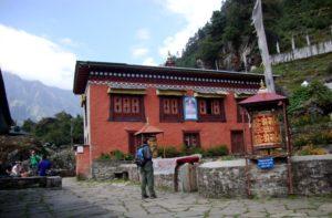 Buddhist Monastery Ghat Village in Everest base camp trek route