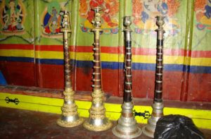 Tibetan Buddhist Musical Instruments at Tengboche Monastery for Sacred Music