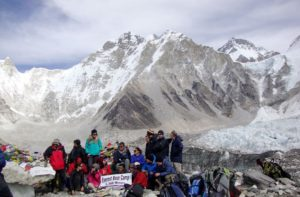 Everest base camp elevation 17,600 ft