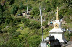 Mani on hiking trail to Everest base camp Nepal