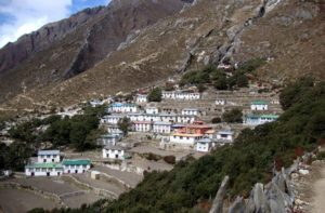 Pangboche village and Pangboche monastery near Mount Everest
