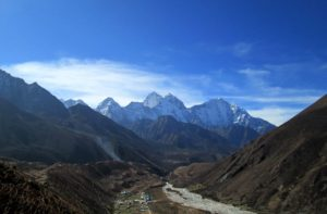 Everest base camp trekking back via Pheriche Nepal