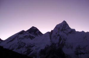 View of Everest at sunrise from Kala Patthar
