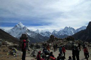 Stone Memorials & Prayer Flags on Dughla pass on Everest base camp trek in Nepal
