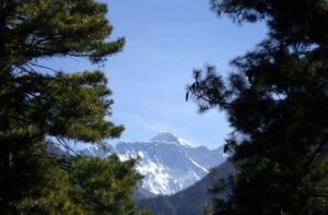 First glimpse of Mount Everest on EBC trail below Namche bazaar