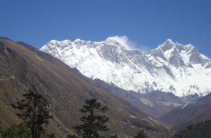 Lhotse Wall and Mount Everest view from dibuche