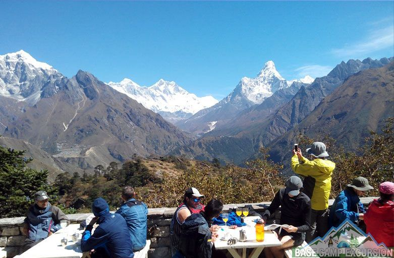 Tourists taking selfie during Everest base camp trek in the Himalayas