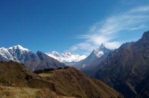 Mount Everest view from Everest Sherpa resort, Syangboche, Everest region, Nepal