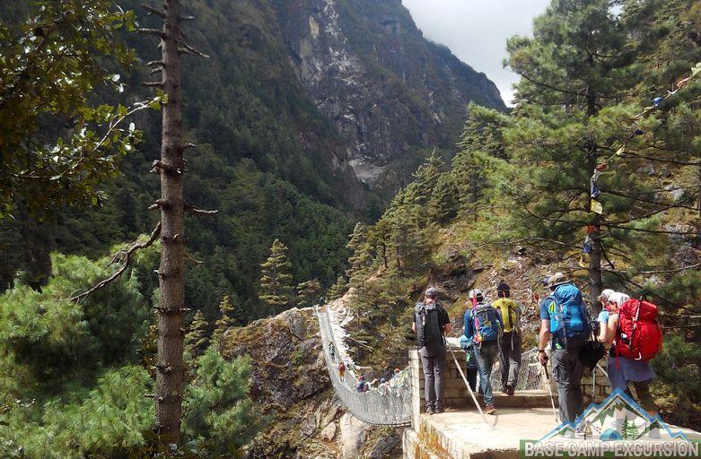 Crossing Hillary suspension Bridge trip report & podcast of Everest base camp trek suspension bridges
